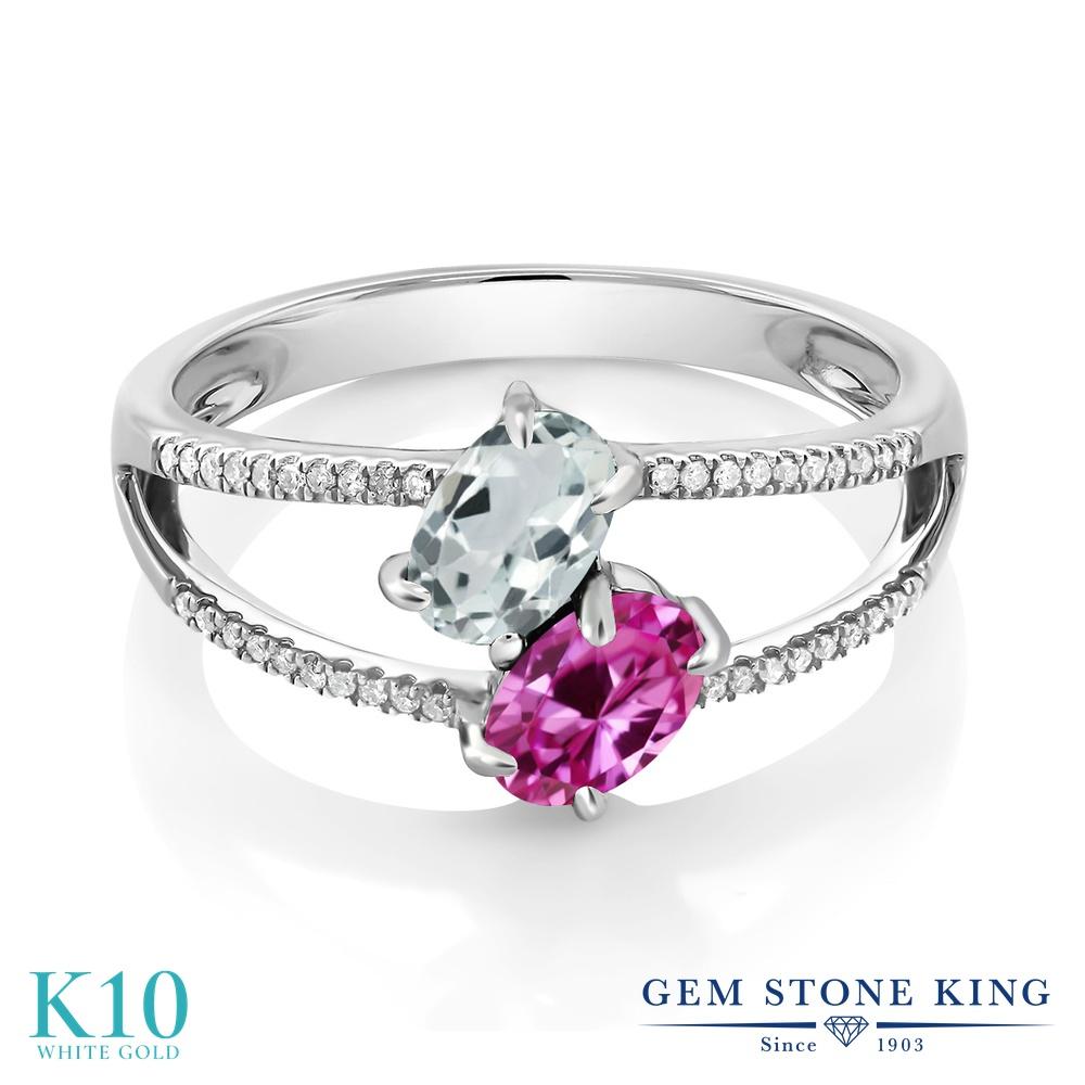 Gem Stone King 1.21カラット 天然 アクアマリン 合成ピンクサファイア 天然 ダイヤモンド 10金 ホワイトゴールド(K10) 指輪 リング レディース 小粒 ダブルストーン 天然石 3月 誕生石 金属アレルギー対応 誕生日プレゼント