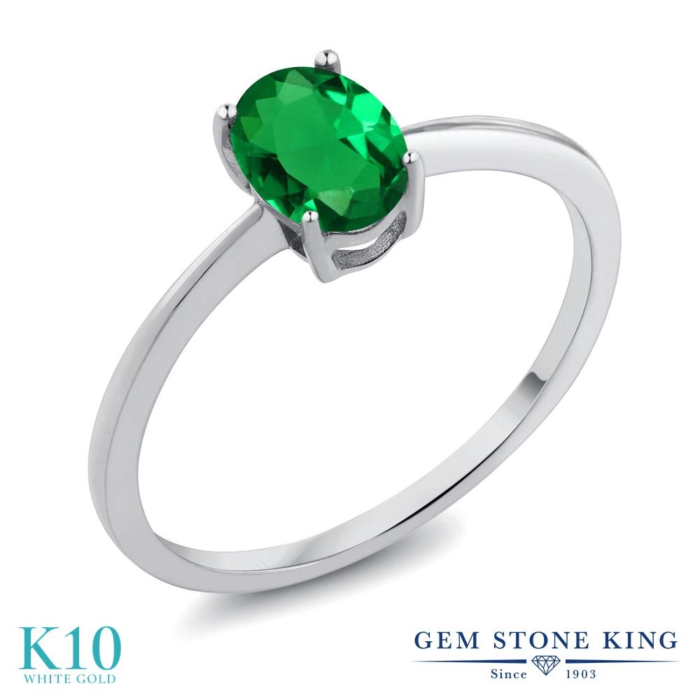 Gem Stone King 0.6カラット ナノエメラルド 10金 ホワイトゴールド(K10) 指輪 リング レディース 一粒 シンプル ソリティア 金属アレルギー対応 誕生日プレゼント