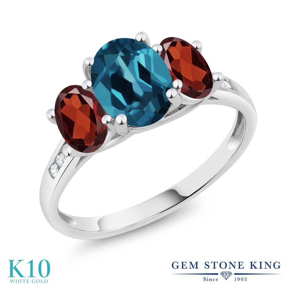 Gem Stone King 2.3カラット 天然 ロンドンブルートパーズ 天然 ガーネット 天然 ダイヤモンド 10金 ホワイトゴールド(K10) 指輪 リング レディース 大粒 スリーストーン 天然石 11月 誕生石 金属アレルギー対応 誕生日プレゼント