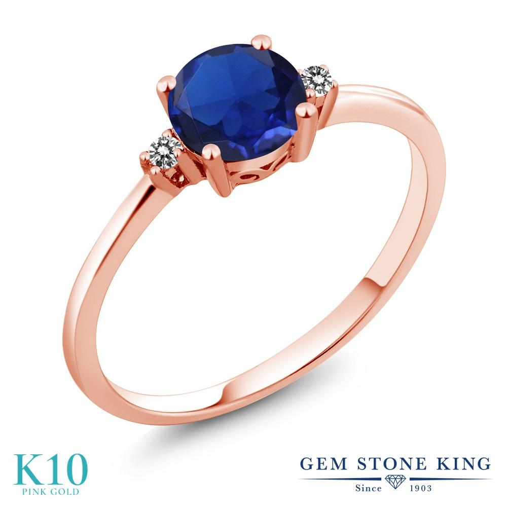 Gem Stone King 0.78カラット シミュレイテッド サファイア 天然 ダイヤモンド 10金 ピンクゴールド(K10) 指輪 リング レディース 一粒 シンプル ソリティア 金属アレルギー対応 婚約指輪 エンゲージリング