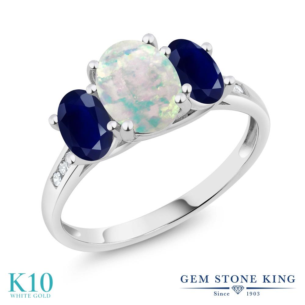 Gem Stone King 2.15カラット シミュレイテッド ホワイトオパール 天然 サファイア 天然 ダイヤモンド 10金 ホワイトゴールド(K10) 指輪 リング レディース 大粒 スリーストーン 10月 誕生石 金属アレルギー対応 誕生日プレゼント
