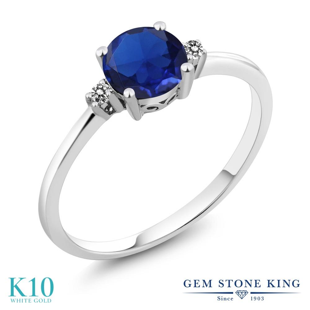 【10%OFF】 Gem Stone King 0.78カラット シミュレイテッド サファイア 天然 ダイヤモンド 指輪 リング レディース 10金 ホワイトゴールド K10 一粒 シンプル ソリティア 婚約指輪 エンゲージリング