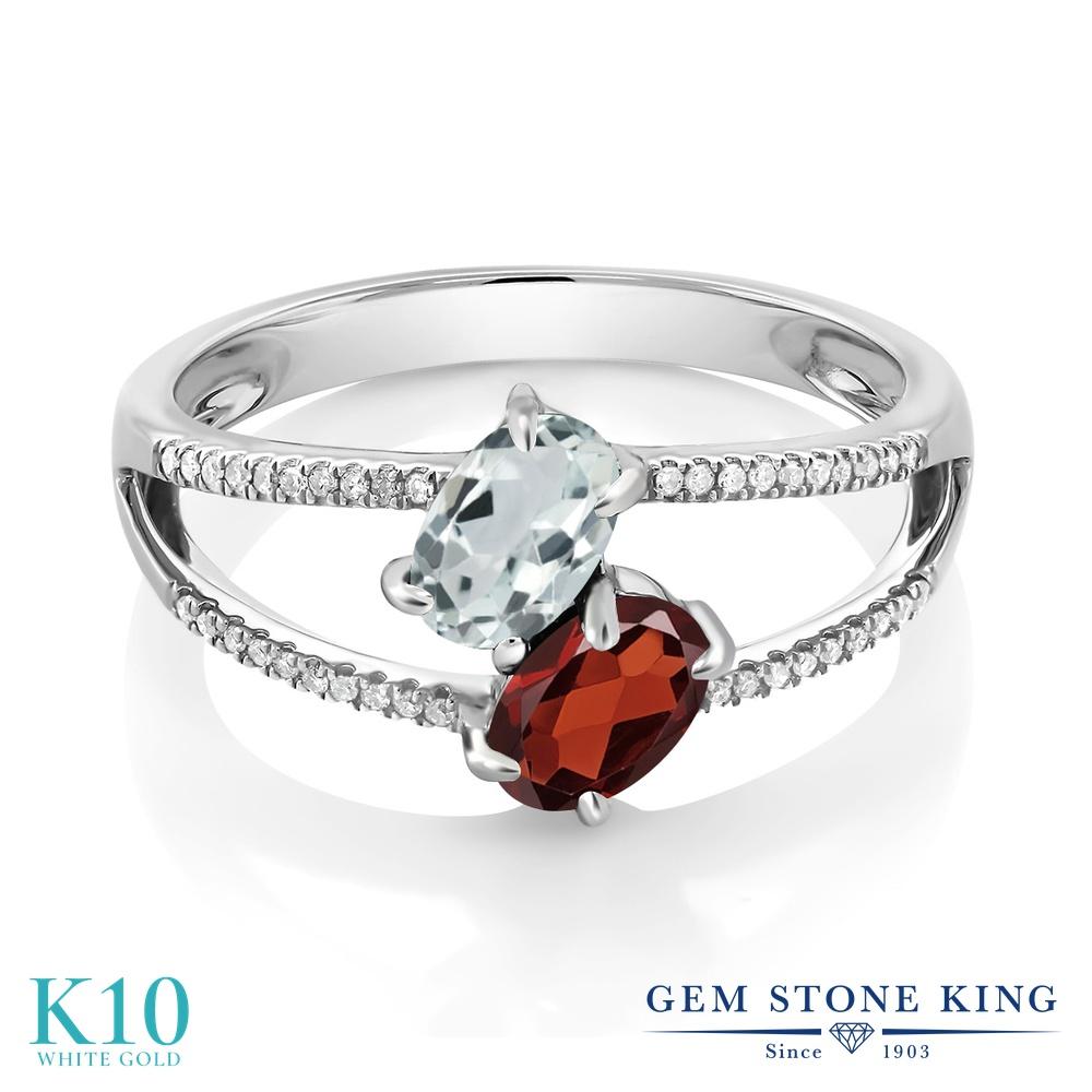 Gem Stone King 1.21カラット 天然 アクアマリン 天然 ガーネット 天然 ダイヤモンド 10金 ホワイトゴールド(K10) 指輪 リング レディース 小粒 ダブルストーン 天然石 3月 誕生石 金属アレルギー対応 誕生日プレゼント