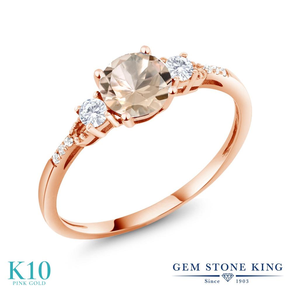 【10%OFF】 Gem Stone King 0.74カラット 天然 モルガナイト (ピーチ) 合成ホワイトサファイア (ダイヤのような無色透明) ダイヤモンド 指輪 リング レディース 10金 ピンクゴールド K10 マルチストーン 天然石 3月 誕生石 プレゼント 女性 彼女 誕生日 クリスマス