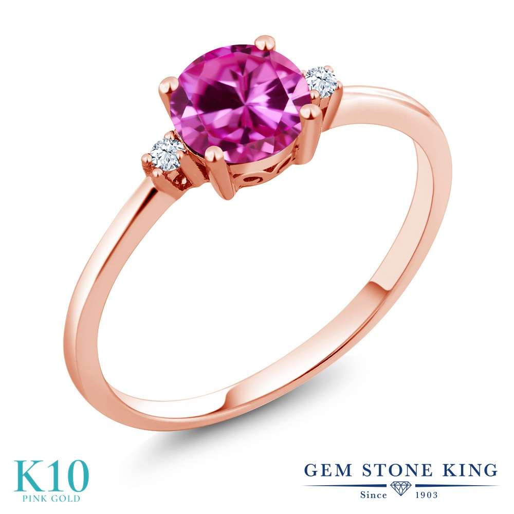 Gem Stone King 1.03カラット 合成ピンクサファイア 合成ホワイトサファイア (ダイヤのような無色透明) 10金 ピンクゴールド(K10) 指輪 リング レディース 大粒 シンプル ソリティア 金属アレルギー対応 誕生日プレゼント