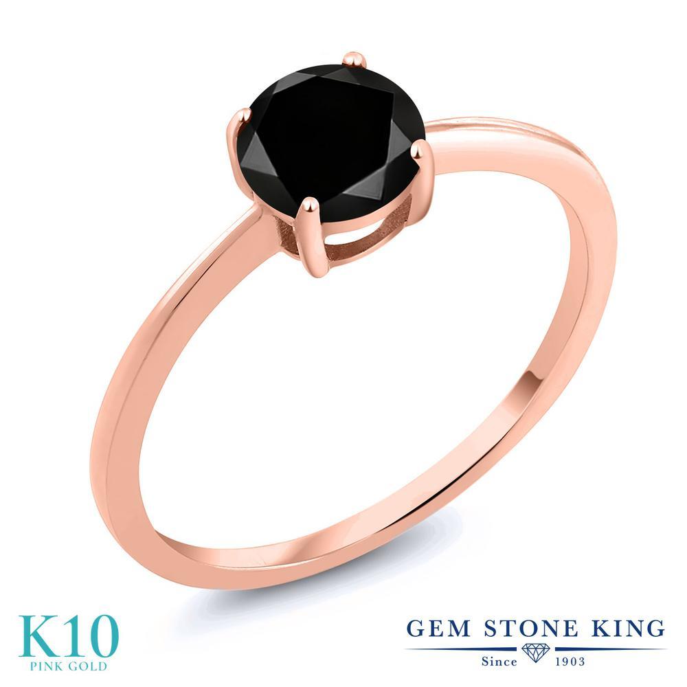 【クーポンで10%OFF】 Gem Stone King 1.05カラット 天然ブラックダイヤモンド 10金 ピンクゴールド(K10) 指輪 リング レディース ブラック ダイヤ 大粒 一粒 シンプル ソリティア 天然石 4月 誕生石 金属アレルギー対応 婚約指輪 エンゲージリング