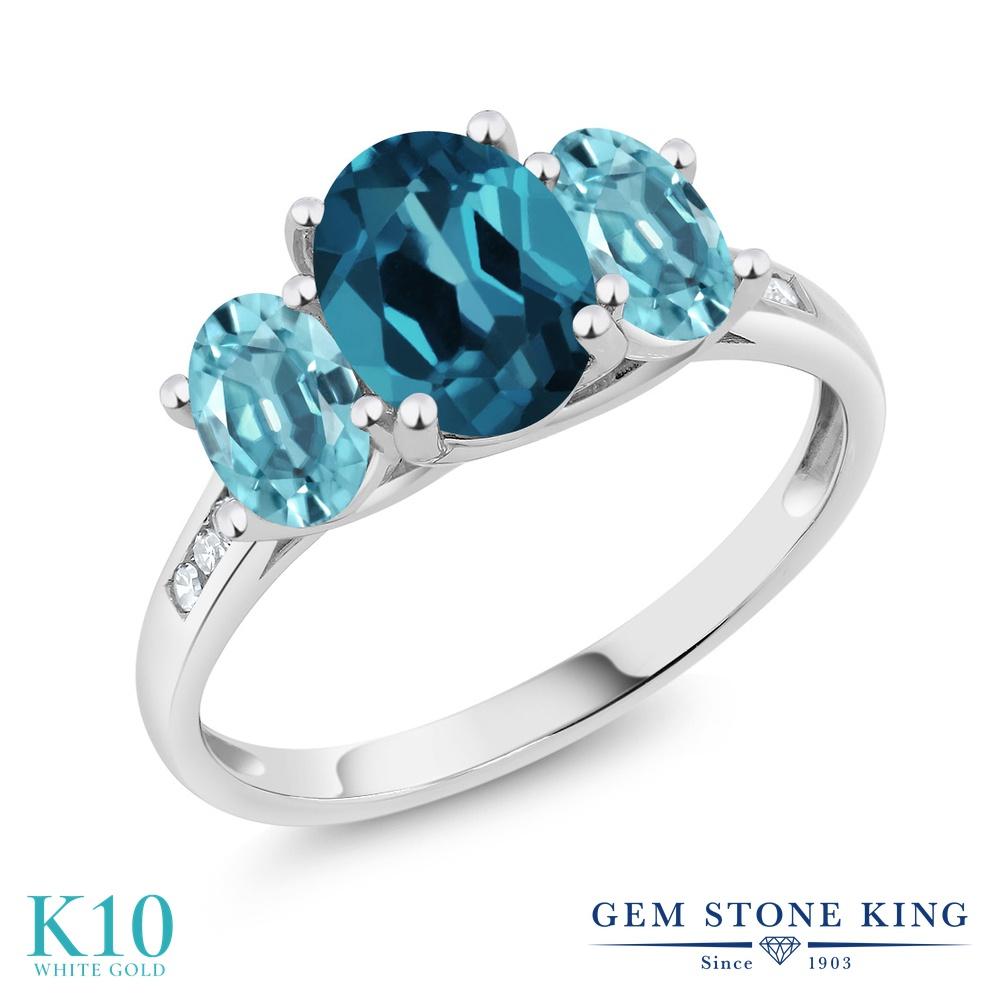 Gem Stone King 2.8カラット 天然 ロンドンブルートパーズ 天然石 ブルージルコン 天然 ダイヤモンド 10金 ホワイトゴールド(K10) 指輪 リング レディース 大粒 スリーストーン 天然石 11月 誕生石 金属アレルギー対応 誕生日プレゼント
