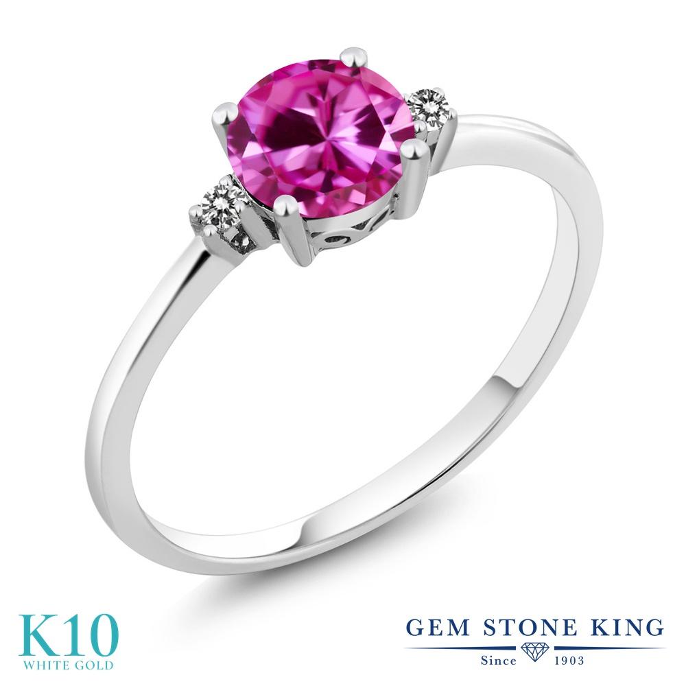 【10%OFF】 Gem Stone King 1.03カラット 合成ピンクサファイア 天然 ダイヤモンド 指輪 リング レディース 10金 ホワイトゴールド K10 大粒 一粒 シンプル ソリティア 婚約指輪 エンゲージリング