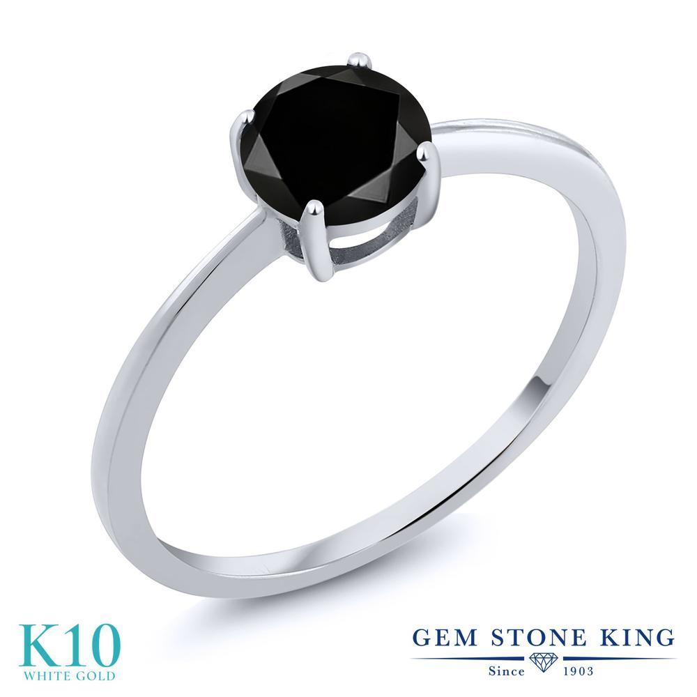 【クーポンで10%OFF】 Gem Stone King 1.05カラット 天然ブラックダイヤモンド 10金 ホワイトゴールド(K10) 指輪 リング レディース ブラック ダイヤ 大粒 一粒 シンプル ソリティア 天然石 4月 誕生石 金属アレルギー対応 婚約指輪 エンゲージリング
