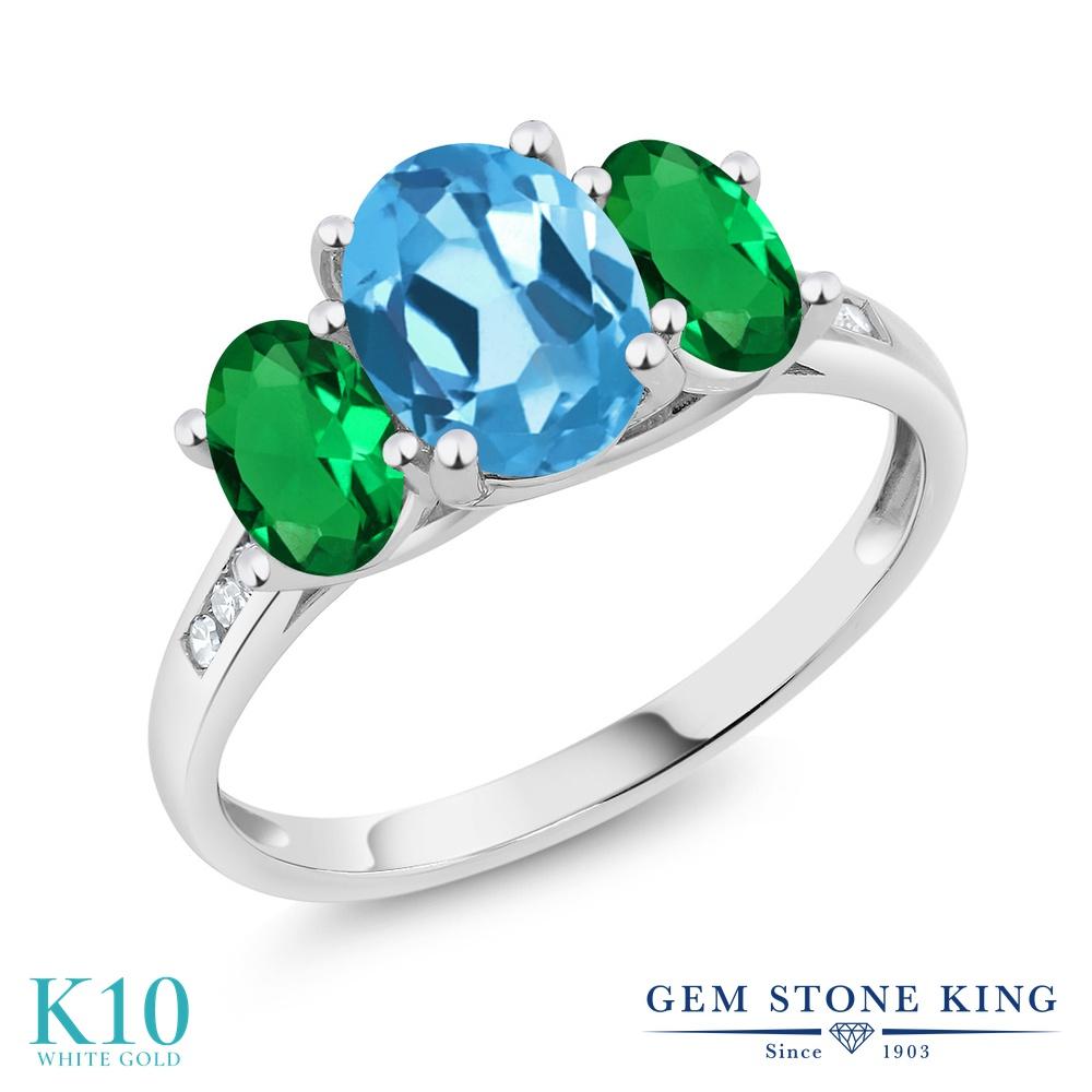 Gem Stone King 2.2カラット 天然 スイスブルートパーズ ナノエメラルド 天然 ダイヤモンド 10金 ホワイトゴールド(K10) 指輪 リング レディース 大粒 スリーストーン 天然石 11月 誕生石 金属アレルギー対応 誕生日プレゼント