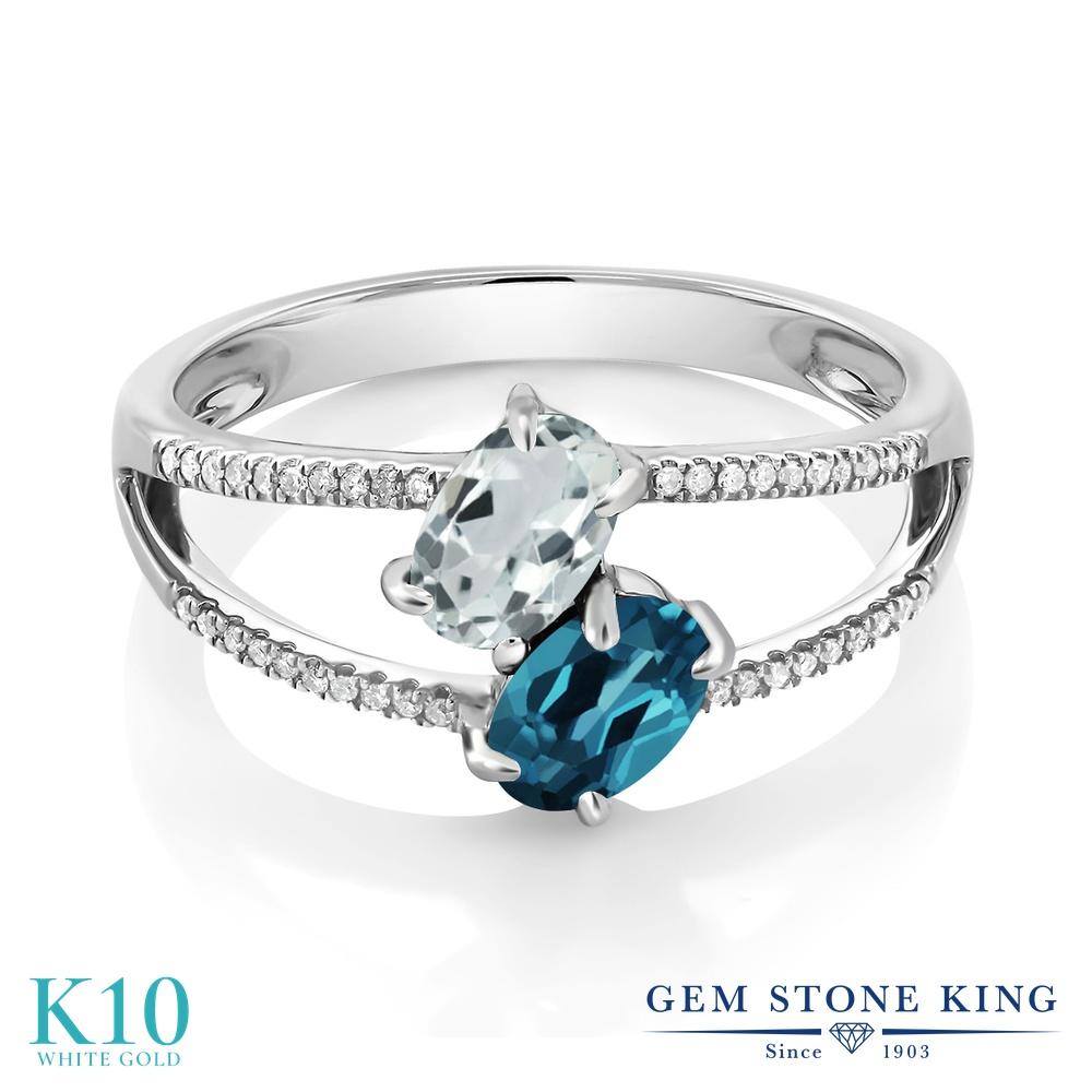 Gem Stone King 1.21カラット 天然 アクアマリン 天然 ロンドンブルートパーズ 天然 ダイヤモンド 10金 ホワイトゴールド(K10) 指輪 リング レディース 小粒 ダブルストーン 天然石 3月 誕生石 金属アレルギー対応 誕生日プレゼント