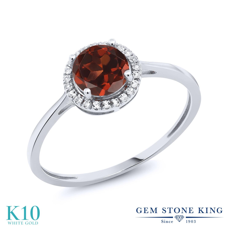 Gem Stone King 1.22カラット 天然 ガーネット 天然 ダイヤモンド 10金 ホワイトゴールド(K10) 指輪 リング レディース 大粒 ヘイロー 天然石 1月 誕生石 金属アレルギー対応 誕生日プレゼント