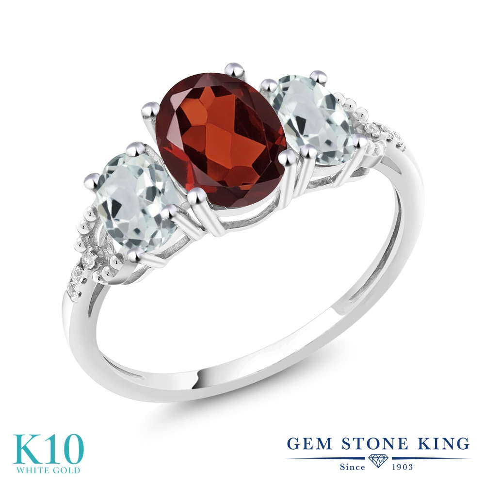 Gem Stone King 2.11カラット 天然 ガーネット 天然 アクアマリン 天然 ダイヤモンド 10金 ホワイトゴールド(K10) 指輪 リング レディース 大粒 スリーストーン 天然石 1月 誕生石 金属アレルギー対応 婚約指輪 エンゲージリング