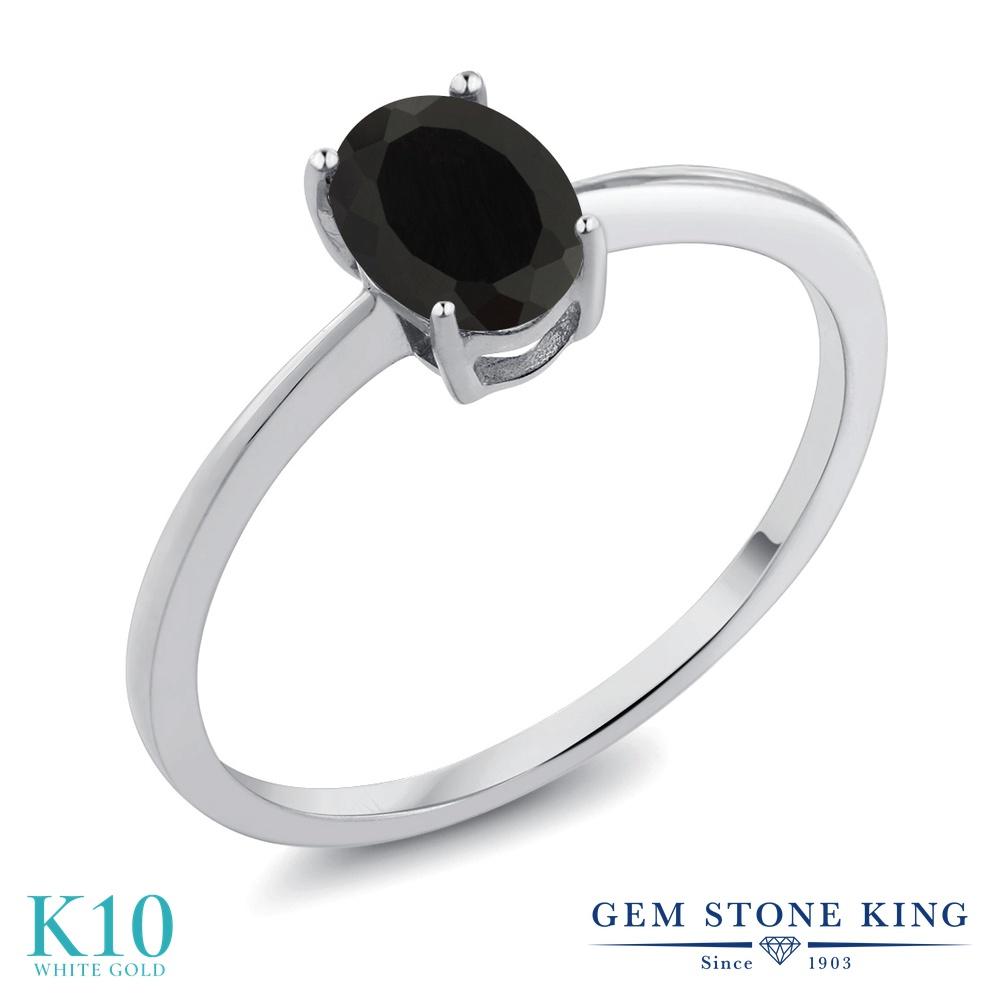 Gem Stone King 0.8カラット 天然 オニキス 10金 ホワイトゴールド(K10) 指輪 リング レディース 一粒 シンプル ソリティア 天然石 8月 誕生石 金属アレルギー対応 誕生日プレゼント
