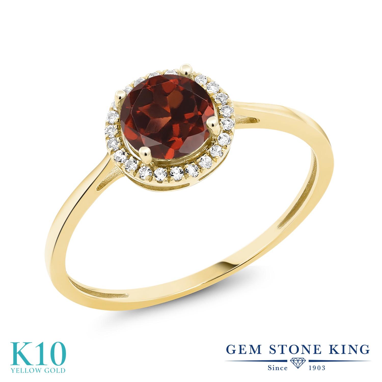 Gem Stone King 1.22カラット 天然 ガーネット 天然 ダイヤモンド 10金 イエローゴールド(K10) 指輪 リング レディース 大粒 ヘイロー 天然石 1月 誕生石 金属アレルギー対応 誕生日プレゼント