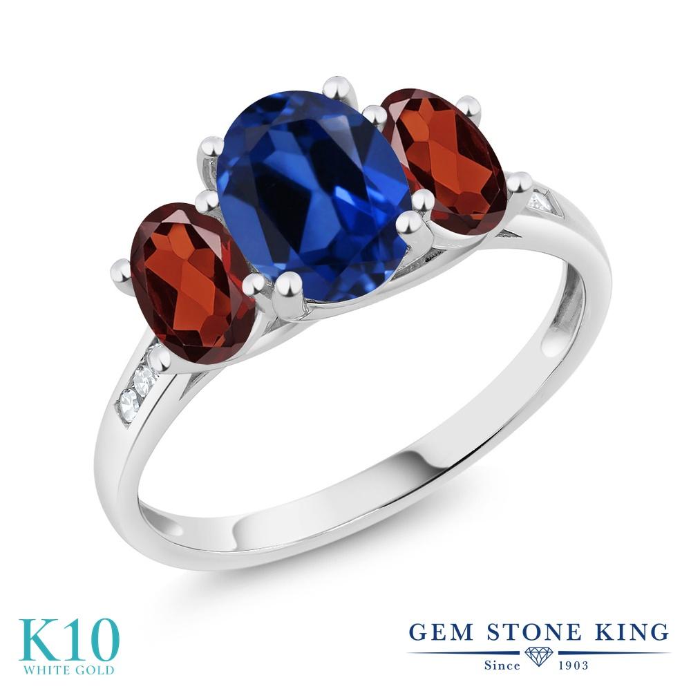 Gem Stone King 2.6カラット シミュレイテッド サファイア 天然 ガーネット 天然 ダイヤモンド 10金 ホワイトゴールド(K10) 指輪 リング レディース 大粒 スリーストーン 金属アレルギー対応 誕生日プレゼント