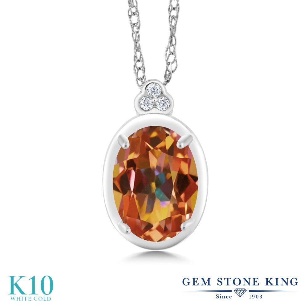Gem Stone King 0.8カラット 天然石 エクスタシーミスティックトパーズ 天然 ダイヤモンド 10金 ホワイトゴールド(K10) ネックレス ペンダント レディース 天然石 金属アレルギー対応 誕生日プレゼント