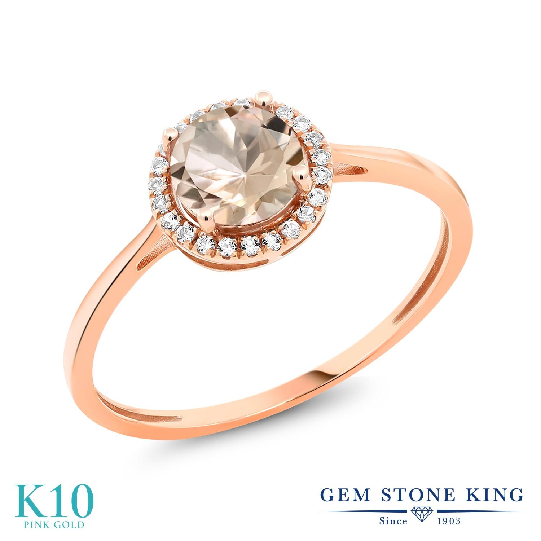 0.82カラット 天然 モルガナイト (ピーチ) ダイヤモンド 指輪 リング レディース 10金 ピンクゴールド K10 ヘイロー 天然石 3月 誕生石 プレゼント 女性 彼女 妻 誕生日