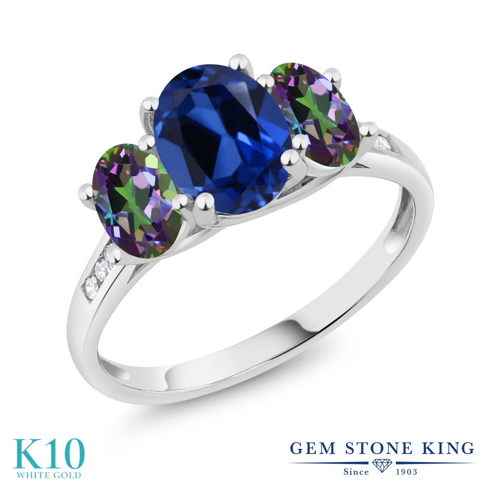 Gem Stone King 2.6カラット シミュレイテッド サファイア 天然石 ミスティックトパーズ (グリーン) 天然 ダイヤモンド 10金 ホワイトゴールド(K10) 指輪 リング レディース 大粒 スリーストーン 金属アレルギー対応 誕生日プレゼント