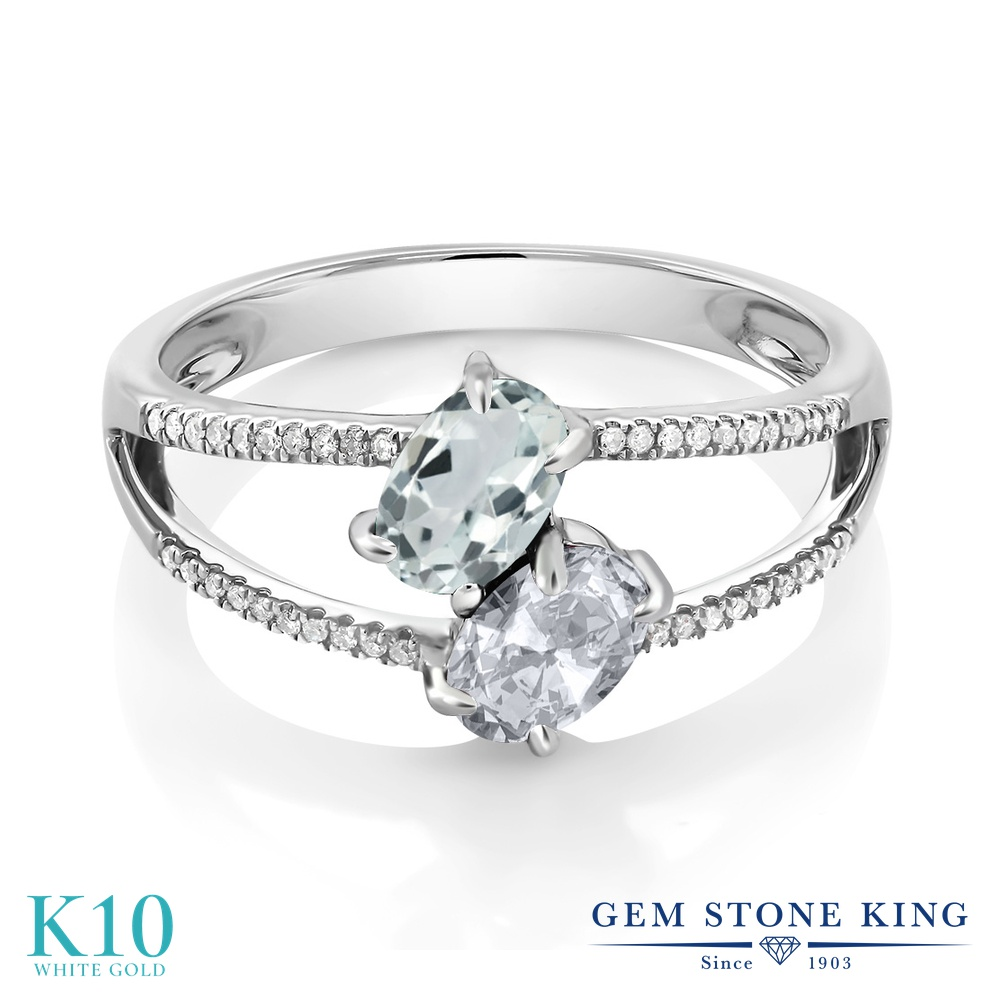 Gem Stone King 1.21カラット 天然 アクアマリン 天然 トパーズ (無色透明) 天然 ダイヤモンド 10金 ホワイトゴールド(K10) 指輪 リング レディース 小粒 ダブルストーン 天然石 3月 誕生石 金属アレルギー対応 誕生日プレゼント