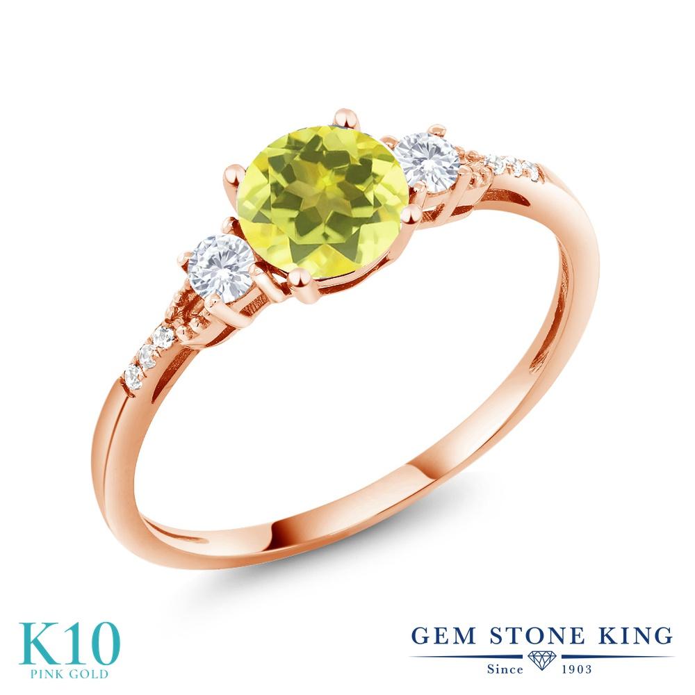 Gem Stone King 1.14カラット 天然石 ミスティックトパーズ (イエロー) 合成ホワイトサファイア (ダイヤのような無色透明) 天然 ダイヤモンド 10金 ピンクゴールド(K10) 指輪 リング レディース 大粒 マルチストーン 天然石 金属アレルギー対応 誕生日プレゼント