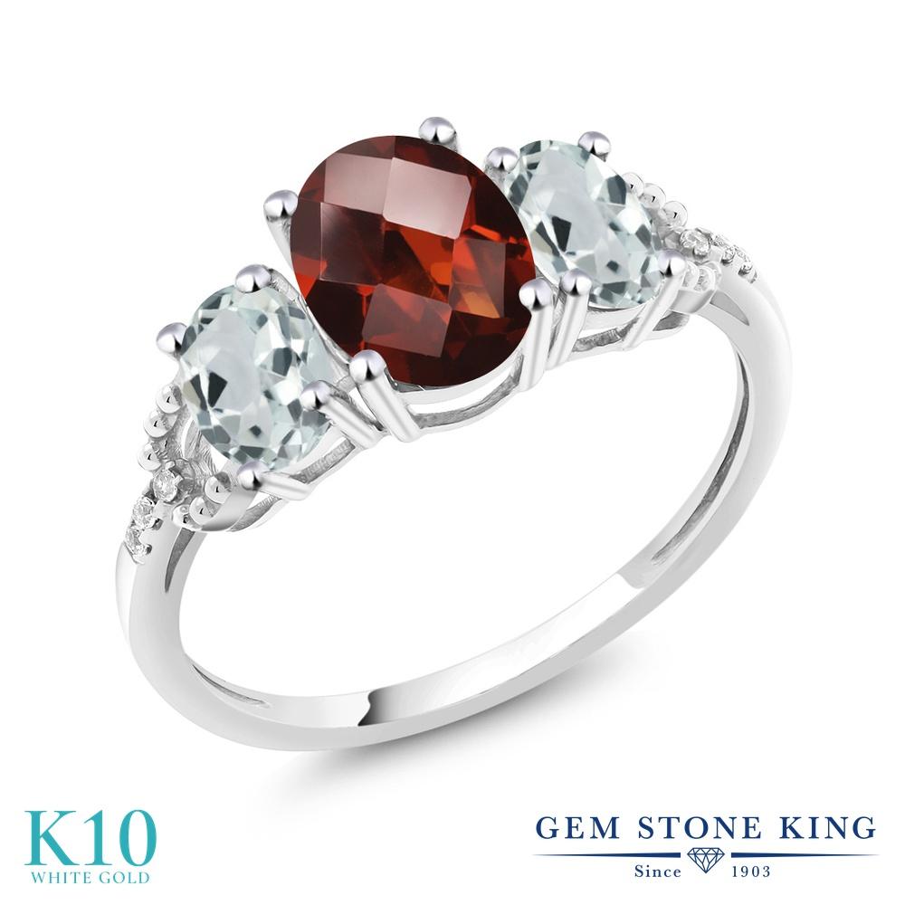 【10%OFF】 Gem Stone King 2.31カラット 天然 ガーネット アクアマリン ダイヤモンド 指輪 リング レディース 10金 ホワイトゴールド K10 大粒 スリーストーン 天然石 1月 誕生石 婚約指輪 エンゲージリング