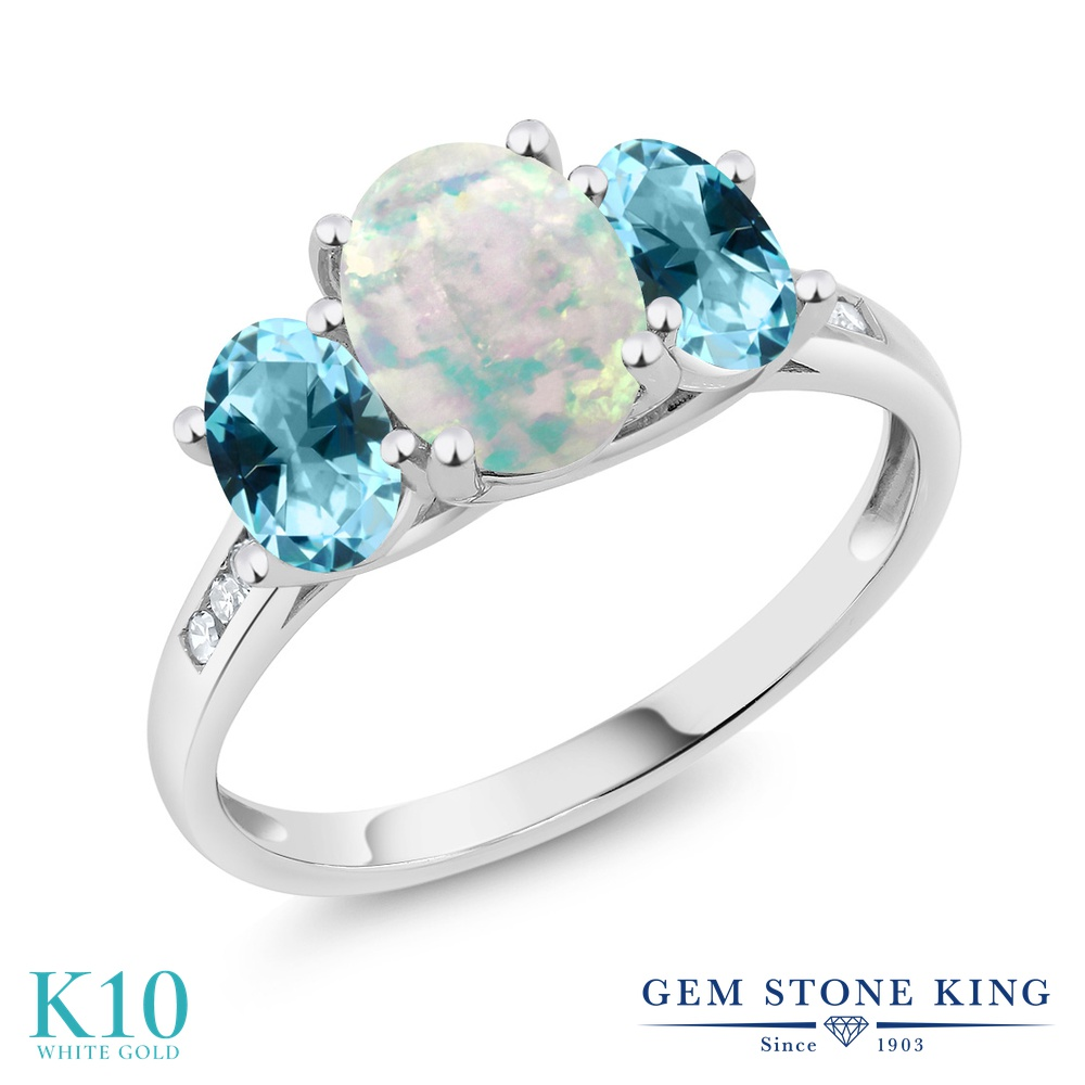 Gem Stone King 2.05カラット シミュレイテッド ホワイトオパール 天然石 アイスブルートパーズ (スワロフスキー 天然石シリーズ) 天然 ダイヤモンド 10金 ホワイトゴールド(K10) 指輪 リング レディース 大粒 スリーストーン 10月 誕生石 金属アレルギー対応