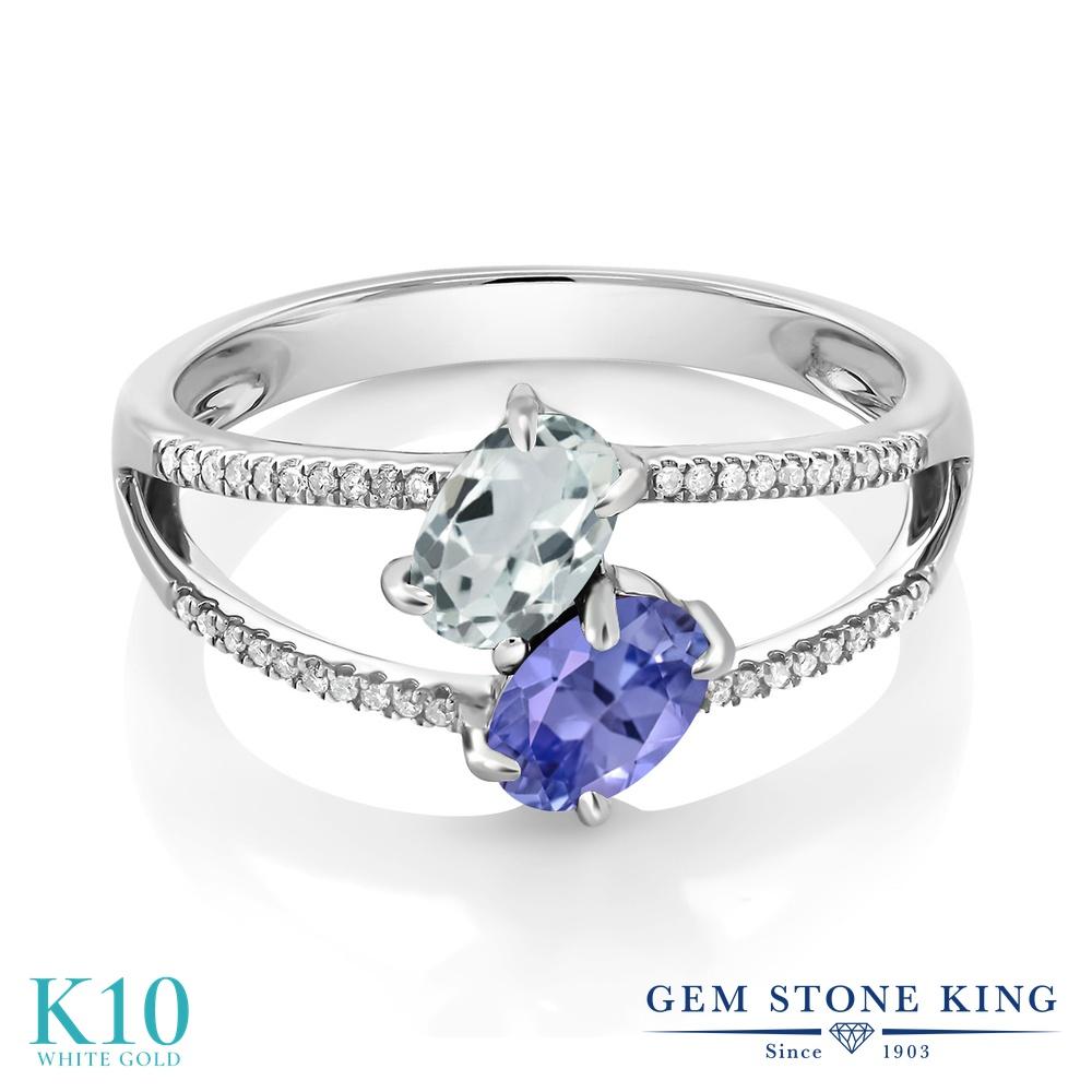 Gem Stone King 1.16カラット 天然 アクアマリン 天然石 タンザナイト 天然 ダイヤモンド 10金 ホワイトゴールド(K10) 指輪 リング レディース 小粒 ダブルストーン 天然石 3月 誕生石 金属アレルギー対応 誕生日プレゼント