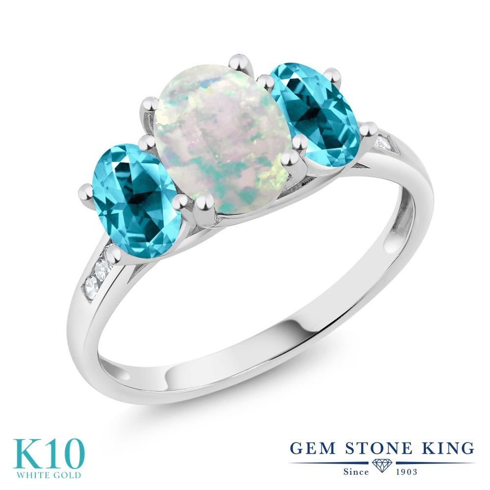 Gem Stone King 3.05カラット シミュレイテッド ホワイトオパール 天然石 パライバトパーズ (スワロフスキー 天然石シリーズ) 天然 ダイヤモンド 10金 ホワイトゴールド(K10) 指輪 リング レディース 大粒 スリーストーン 10月 誕生石 金属アレルギー対応 誕生日プレゼント
