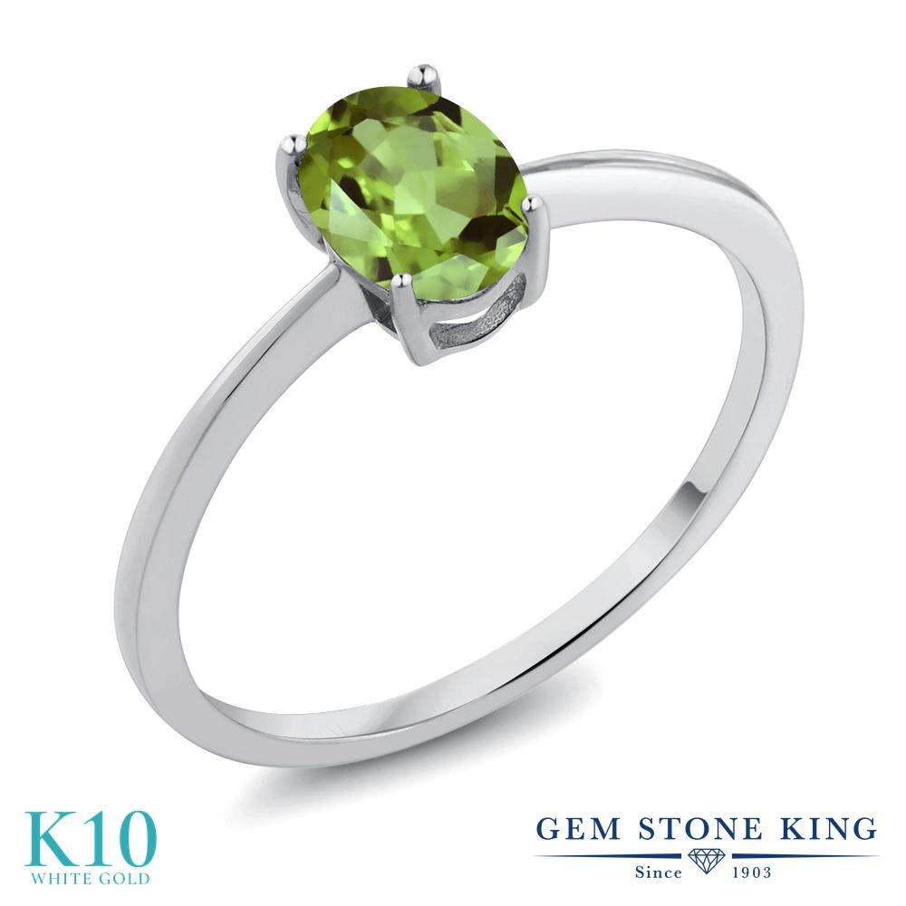 0.8カラット 天然石 ペリドット 指輪 レディース リング 10金 ホワイトゴールド K10 ブランド おしゃれ 一粒 緑 シンプル 細身 ソリティア 8月 誕生石 プレゼント 女性 彼女 妻 誕生日