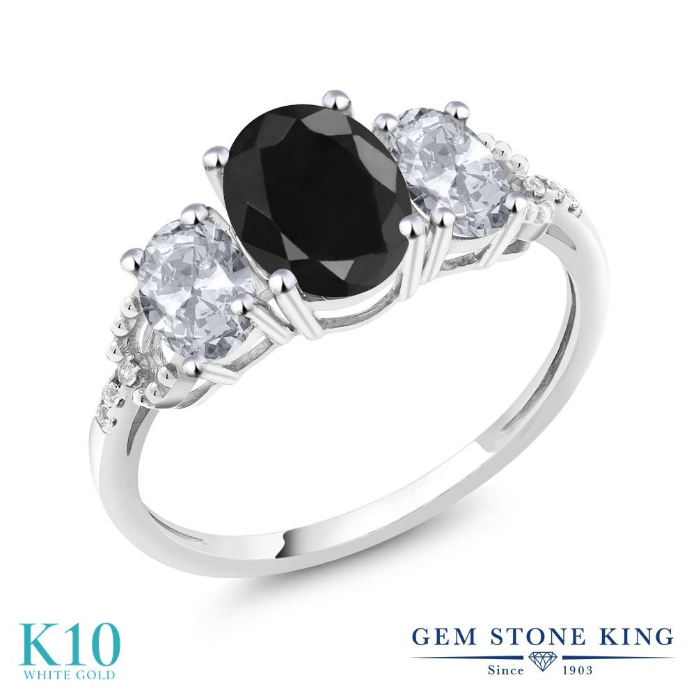 Gem Stone King 2.71カラット 天然 ブラックサファイア 天然 トパーズ (無色透明) 天然 ダイヤモンド 10金 ホワイトゴールド(K10) 指輪 リング レディース 大粒 スリーストーン 天然石 9月 誕生石 金属アレルギー対応 誕生日プレゼント