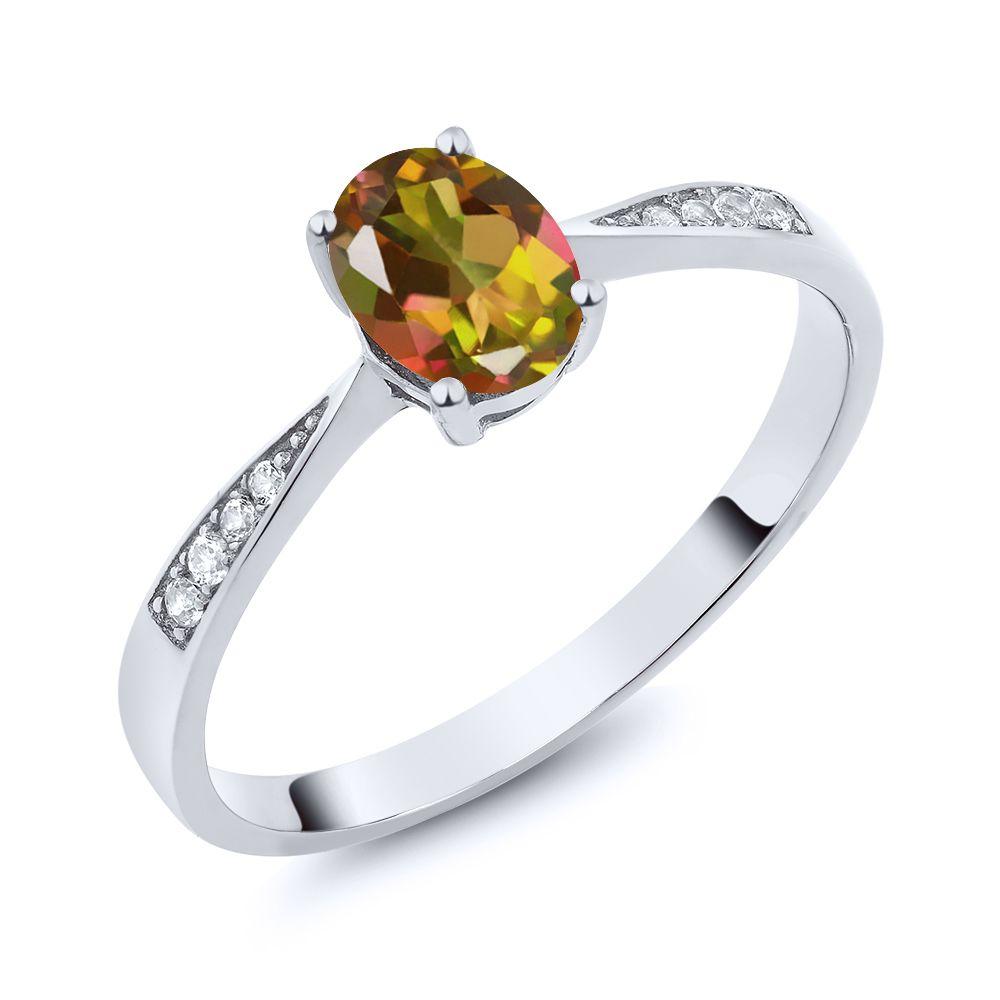 【クーポンで10%OFF】 Gem Stone King 0.86カラット 天然石 ミスティックトパーズ (マンゴーオレンジ) 天然 ダイヤモンド 10金 ホワイトゴールド(K10) 指輪 リング レディース ソリティア 天然石 金属アレルギー対応 誕生日プレゼント