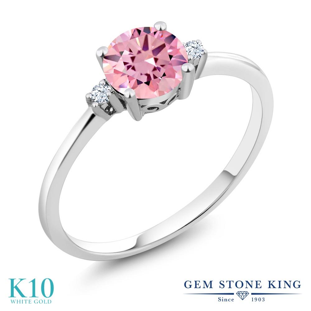 Gem Stone King 1.53カラット ジルコニア (ピンク) 合成ホワイトサファイア (ダイヤのような無色透明) 10金 ホワイトゴールド(K10) 指輪 リング レディース CZ 大粒 一粒 シンプル ソリティア 金属アレルギー対応 婚約指輪 エンゲージリング