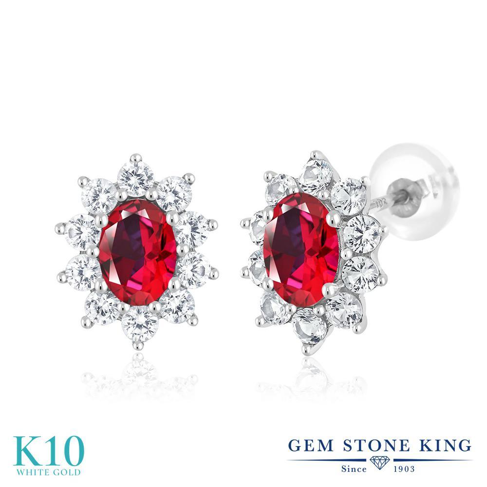 Gem Stone King 1.8カラット 天然石 レッドトパーズ (スワロフスキー 天然石シリーズ) 合成ホワイトサファイア (ダイヤのような無色透明) 10金 ホワイトゴールド(K10) ピアス レディース 小粒 スタッド 天然石 金属アレルギー対応 誕生日プレゼント