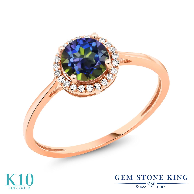 Gem Stone King 1.22カラット 天然石 ミスティックトパーズ (ブルー) 天然 ダイヤモンド 10金 ピンクゴールド(K10) 指輪 リング レディース 大粒 ヘイロー 天然石 金属アレルギー対応 誕生日プレゼント