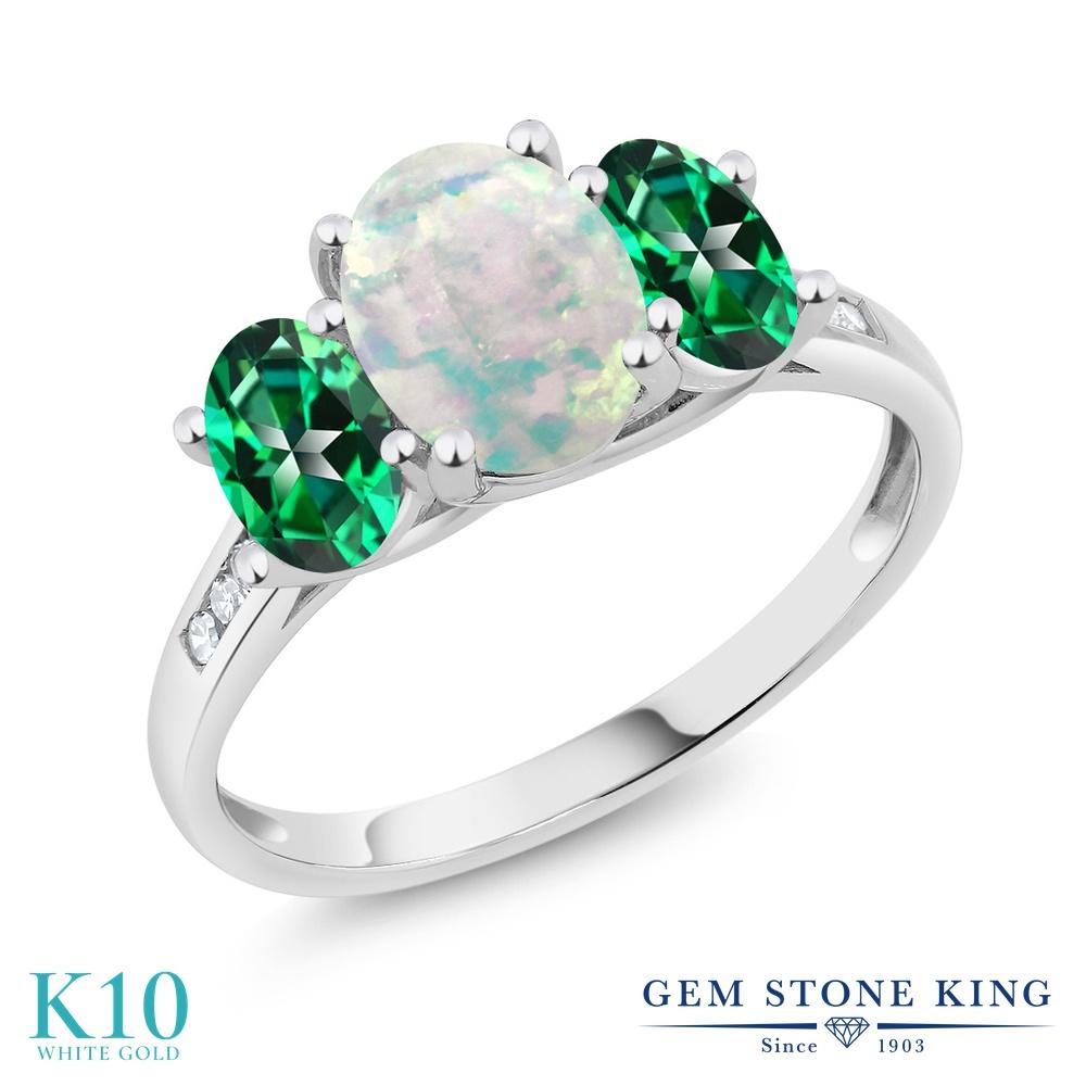 Gem Stone King 2.05カラット シミュレイテッド ホワイトオパール 天然石 トパーズ レインフォレスト (スワロフスキー 天然石シリーズ) 天然 ダイヤモンド 10金 ホワイトゴールド(K10) 指輪 リング レディース 大粒 スリーストーン 10月 誕生石 金属アレルギー対応