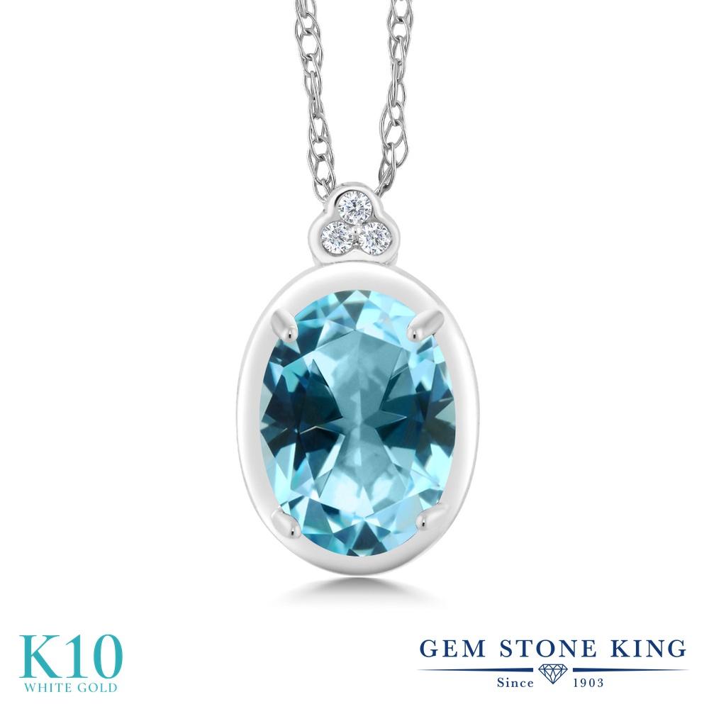 Gem Stone King 1カラット 天然石 アイスブルートパーズ (スワロフスキー 天然石シリーズ) 天然 ダイヤモンド 10金 ホワイトゴールド(K10) ネックレス ペンダント レディース 大粒 天然石 金属アレルギー対応 誕生日プレゼント