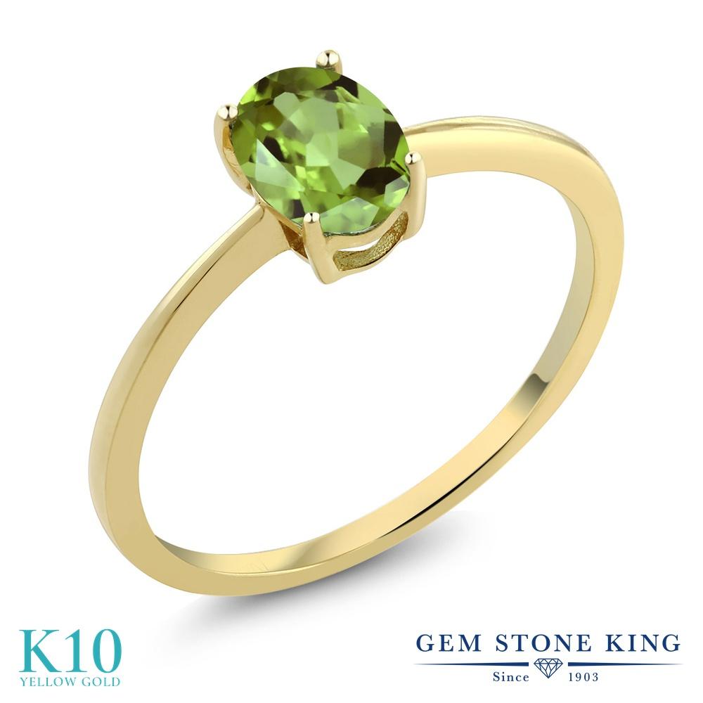 Gem Stone King 0.8カラット 天然石 ペリドット 10金 イエローゴールド(K10) 指輪 リング レディース 一粒 シンプル ソリティア 天然石 8月 誕生石 金属アレルギー対応 婚約指輪 エンゲージリング