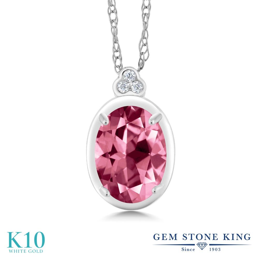 Gem Stone King 1カラット 天然石 ピンクトパーズ (スワロフスキー 天然石シリーズ) 天然 ダイヤモンド 10金 ホワイトゴールド(K10) ネックレス ペンダント レディース 大粒 天然石 金属アレルギー対応 誕生日プレゼント