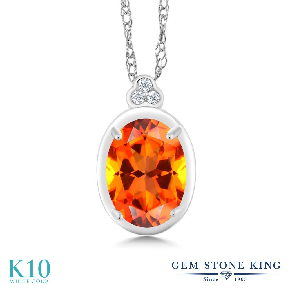 Gem Stone King 1カラット 天然石 トパーズ ポピー (スワロフスキー 天然石シリーズ) 天然 ダイヤモンド 10金 ホワイトゴールド(K10) ネックレス ペンダント レディース 大粒 天然石 金属アレルギー対応 誕生日プレゼント