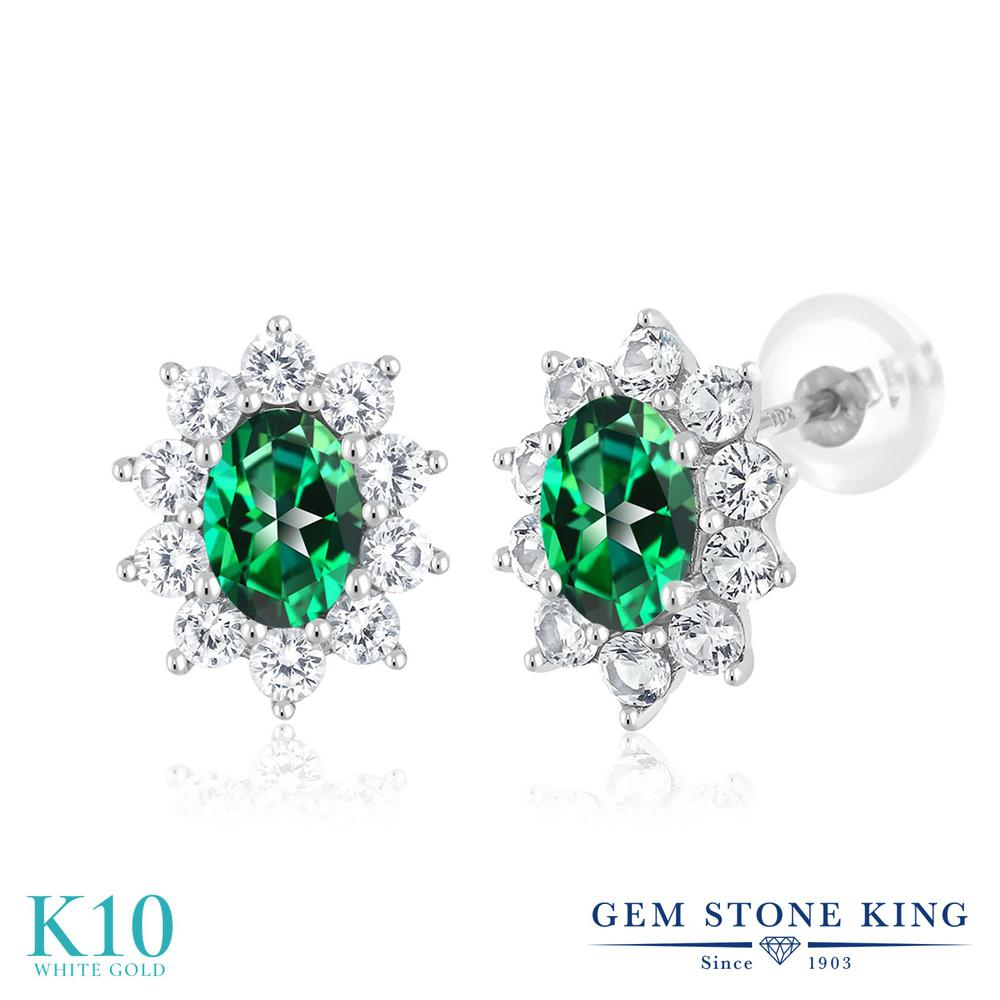 Gem Stone King 1.8カラット 天然石 トパーズ レインフォレスト (スワロフスキー 天然石シリーズ) 合成ホワイトサファイア (ダイヤのような無色透明) 10金 ホワイトゴールド(K10) ピアス レディース 小粒 スタッド 天然石 金属アレルギー対応 誕生日プレゼント
