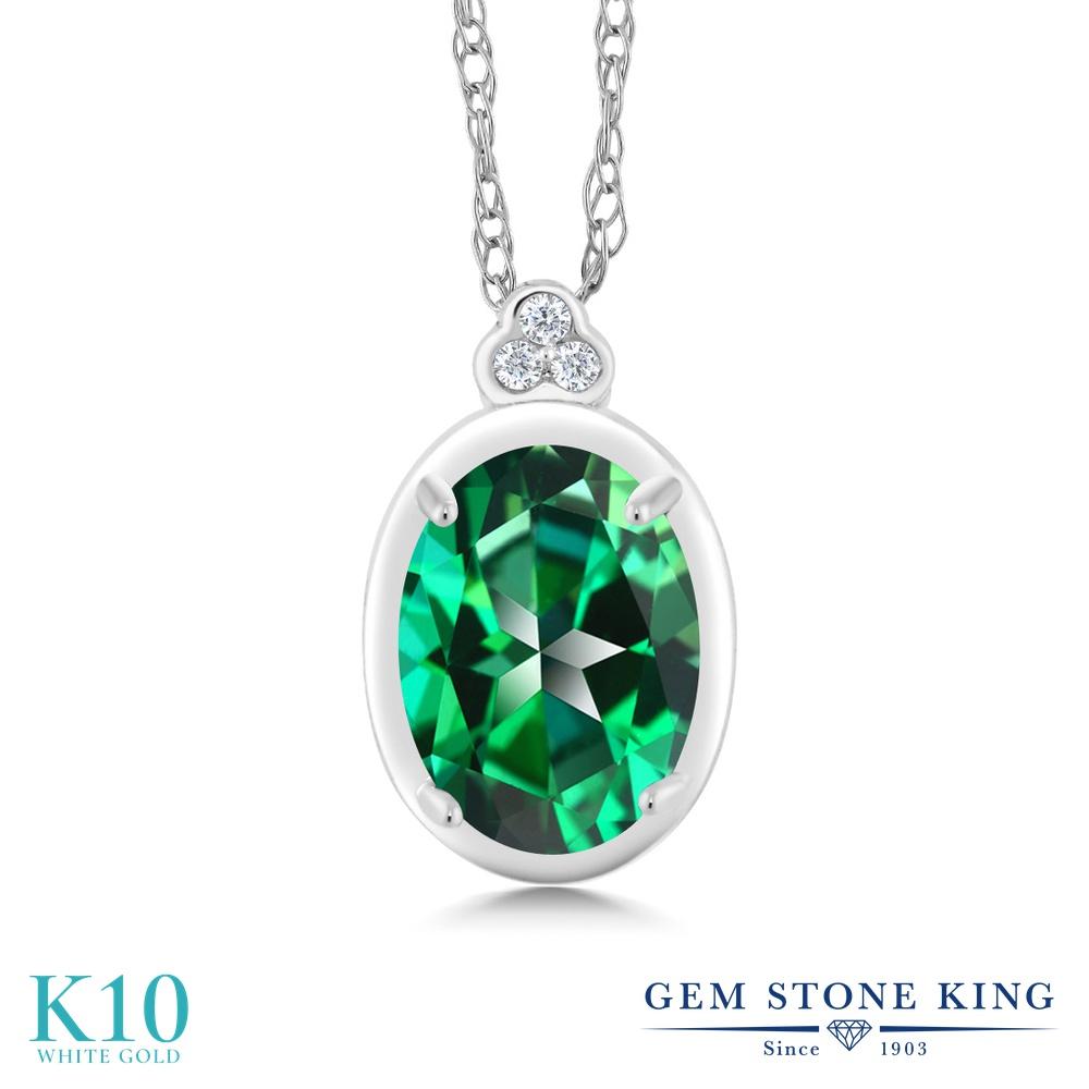 Gem Stone King 1カラット 天然石 トパーズ レインフォレスト (スワロフスキー 天然石シリーズ) 天然 ダイヤモンド 10金 ホワイトゴールド(K10) ネックレス ペンダント レディース 大粒 天然石 金属アレルギー対応 誕生日プレゼント