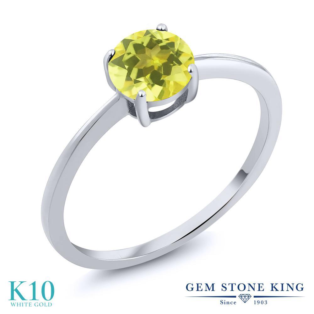 Gem Stone King 1カラット 天然石 ミスティックトパーズ (イエロー) 10金 ホワイトゴールド(K10) 指輪 リング レディース 大粒 一粒 シンプル ソリティア 天然石 金属アレルギー対応 婚約指輪 エンゲージリング
