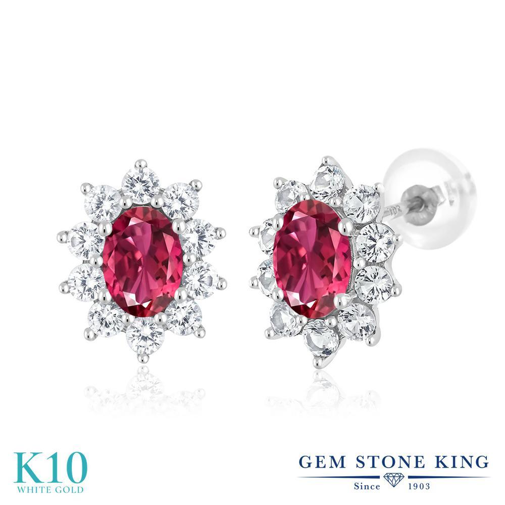 Gem Stone King 1.56カラット 天然 ピンクトルマリン 合成ホワイトサファイア (ダイヤのような無色透明) 10金 ホワイトゴールド(K10) ピアス レディース 小粒 ヘイロー スタッド 天然石 10月 誕生石 金属アレルギー対応 誕生日プレゼント