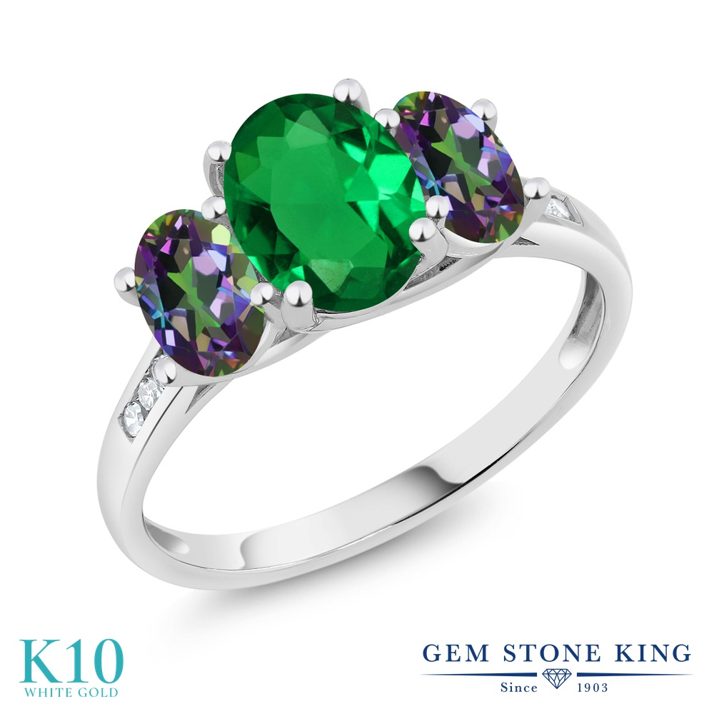 【10%OFF】 Gem Stone King 2カラット ナノエメラルド 天然石 ミスティックトパーズ (グリーン) 天然 ダイヤモンド 指輪 リング レディース 10金 ホワイトゴールド K10 大粒 スリーストーン クリスマスプレゼント 女性 彼女 妻 誕生日