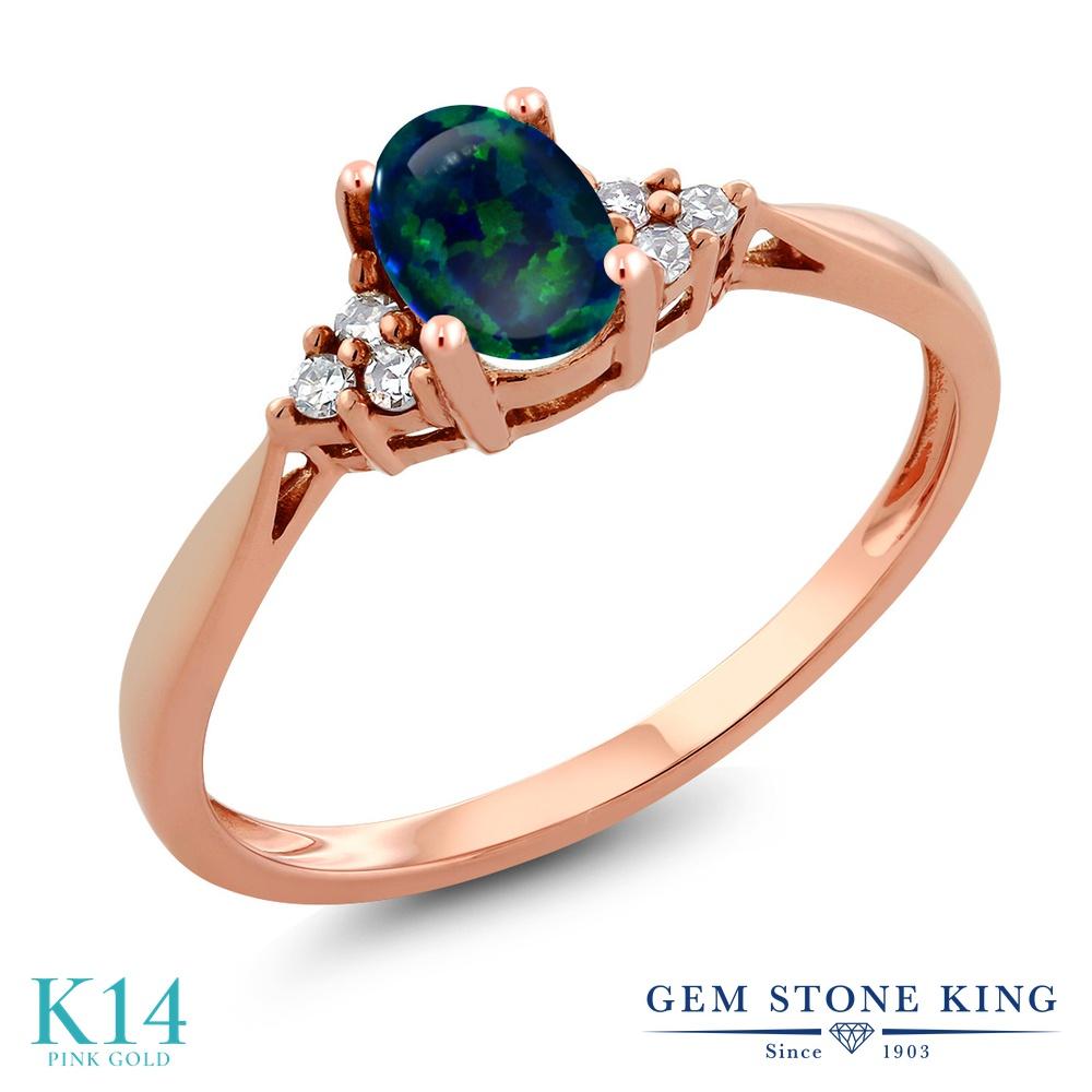 Gem Stone King 0.5カラット シミュレイテッド グリーンオパール 天然 ダイヤモンド 14金 ピンクゴールド(K14) 指輪 リング レディース 小粒 ソリティア 10月 誕生石 金属アレルギー対応 誕生日プレゼント