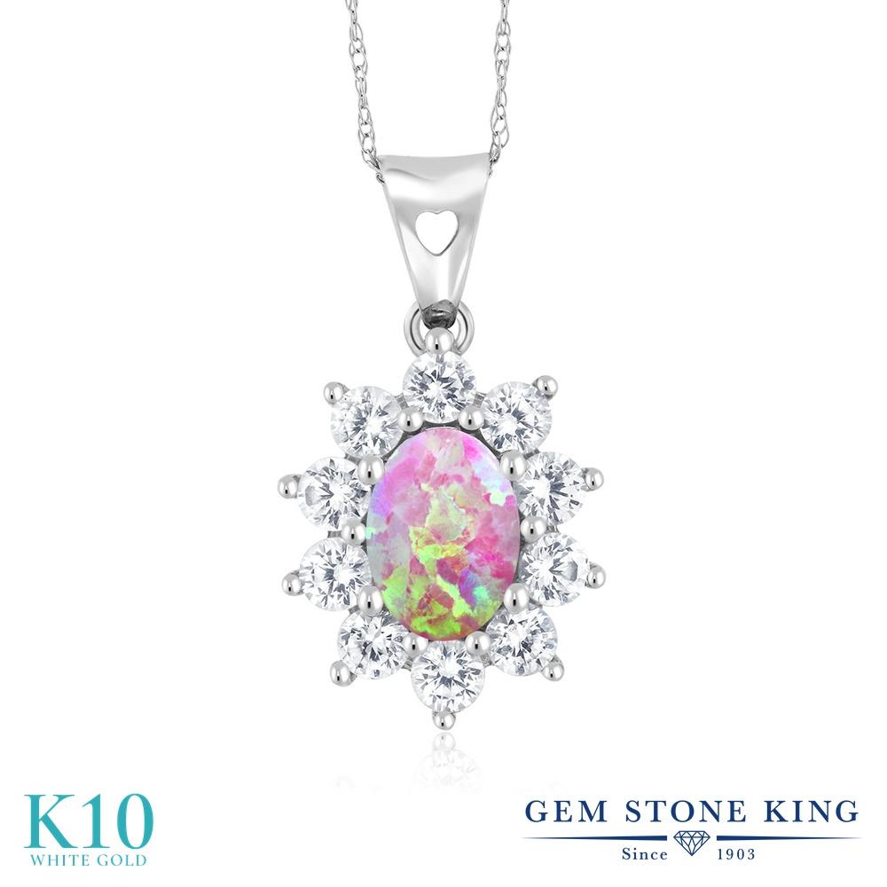 Gem Stone King 1.13カラット シミュレイテッド ピンクオパール 合成ホワイトサファイア (ダイヤのような無色透明) 10金 ホワイトゴールド(K10) ネックレス ペンダント レディース 10月 誕生石 金属アレルギー対応 誕生日プレゼント