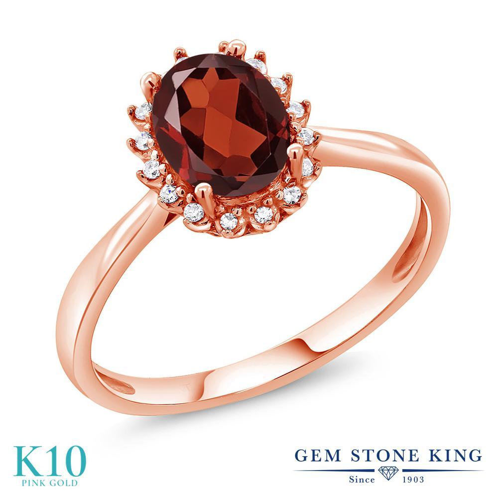 Gem Stone King 1.5カラット 天然 ガーネット 天然 ダイヤモンド 10金 ピンクゴールド(K10) 指輪 リング レディース 大粒 ヘイロー 天然石 1月 誕生石 金属アレルギー対応 誕生日プレゼント