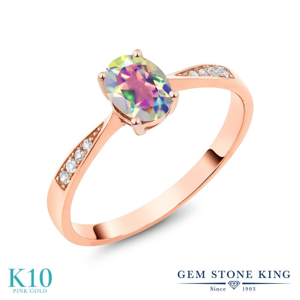 Gem Stone King 0.86カラット 天然石 ミスティックトパーズ (マーキュリーミスト) 天然 ダイヤモンド 10金 ピンクゴールド(K10) 指輪 リング レディース ソリティア 天然石 金属アレルギー対応 誕生日プレゼント