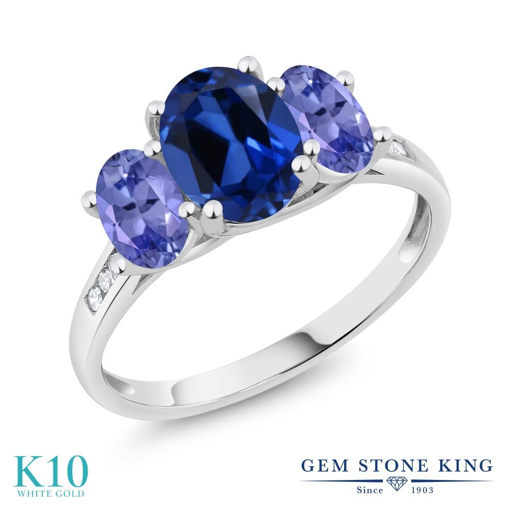 Gem Stone King 2.5カラット シミュレイテッド サファイア 天然石 タンザナイト 天然 ダイヤモンド 10金 ホワイトゴールド(K10) 指輪 リング レディース 大粒 スリーストーン 金属アレルギー対応 誕生日プレゼント